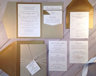 light gold wedding invitations champagne wedding invitations gold ivory wedding invitations pocket - Champagne Wedding Invitations