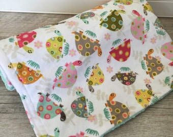 Baby Girl Blanket, Turtles and Flowers Minky Baby Blanket, Baby Girl Gift, Mint and Pink