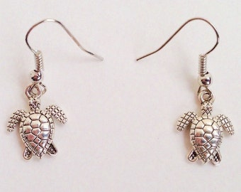 Turtle Earrings - Turtle Charms - Ocean Jewelry - Animal Jewelry