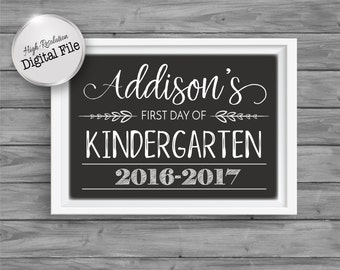 First Day of Preschool/Kindergarten, First Day of School Sign, Chalkboard Photo Prop, Digital Printable File