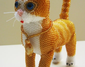 "Pattern/Tutorial Beaded Ornament-Master class for creating ""Ginger kitten"""