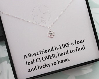 Best Friend Clover Necklace, Sterling Silver necklace, Good Luck Jewelry - Four Leaf Clover Necklace