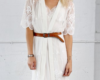 Lace Robe and Slip Dress