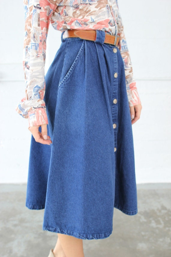 vintage denim jean skirt high waist with buttons by