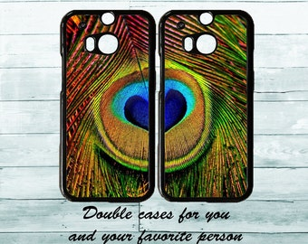 Amazing Peacock feather heart lovers double HTC cases, HTC One M8/M9, couples HTC M8/M9 phone covers, cute gift idea, best friends cases