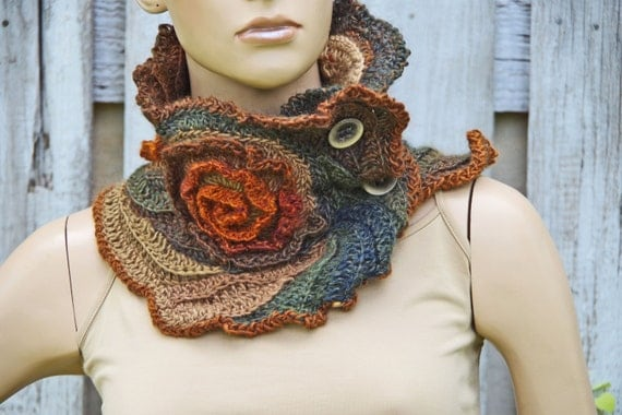 Unique Scarf Crochet Scarf Capelet Neck Warmer By Degra2