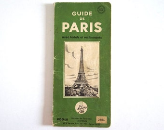 "French Vintage Paris Guide Book 1950s - Mid Century ""Michelin"" Tourist Guide"