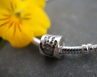 personalised custom pandora bead handprint pawprint jewellery,  silver pandora charm bead, new mum gift, remembrance gift, dog jewellery cat