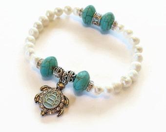 Turtle Bracelet,Turtle Charm Bracelet, Freshwater Pearl Bracelet, Stretch Bracelet, Turquoise Bracelet, Pearl Jewelry, Charm Jewelry
