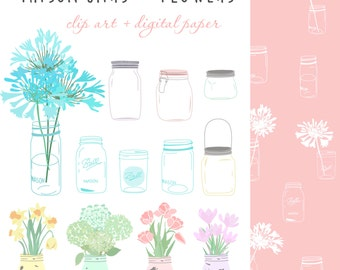 mason jar clipart, floral clip art,  for personal and small commercial use