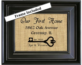 FRAMED House Warming Gift New Home Housewarming Gift Our First Home Burlap Print Personalized Address Sign New House Gift New Homeowner