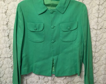 CLEARANCE SALE - bright green linen jacket, fully lined