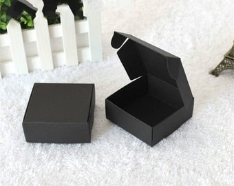 7.5*7.5*3cm black Retail Gift Package Boxes Craft Gift Box Handmade Soap Packaging Kraft Paper Boxes 50pcs