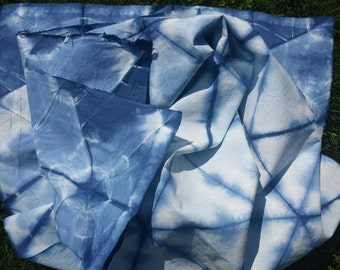 "Shibori ""Diamond Mine"" Eco-Dyed Indigo Scarf 17"