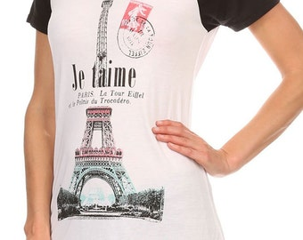 Women's Regular Je taime French Graphic Print Short Sleeve Tops with round neck and hi-lo hem - Small ~ Large (pt-004-tp)