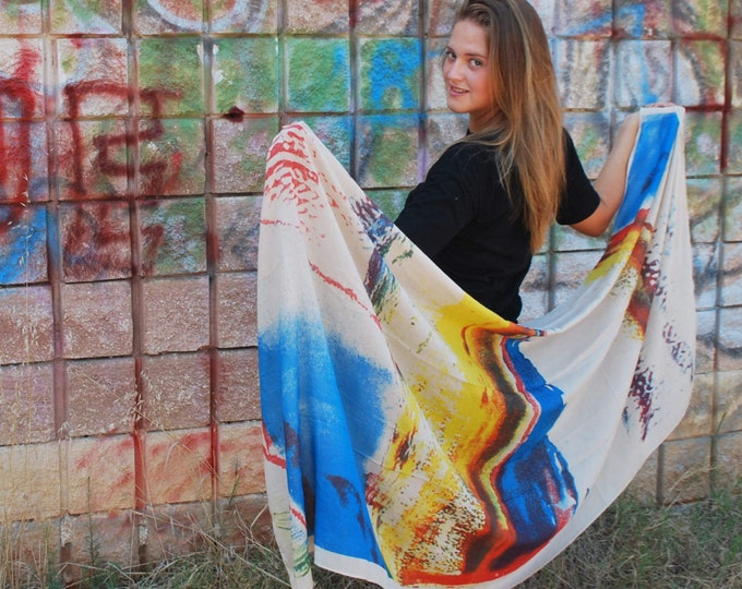 Red Scarf Red Yellow Scarf Sea Scarf Soft Scarf Holiday Fashion Print Scarf Red Shawl Blue Scarf Tribal Scarf Gift For Her