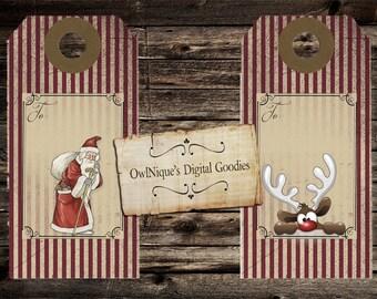 Ten Vintage Christmas tags, Digital Download, Christmas tags, Vintage Christmas, Christmas Gift Tag, Gift Tags, Unique Tags, Gift Tags