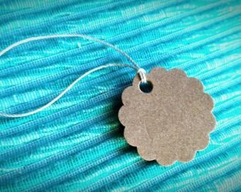 25 Kraft hang tags, blank hang tags, hang tags set, scrapbook tag, merchandise tags, small hang tags, scalloped hang tags, round hang tags