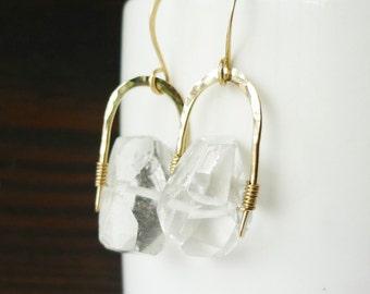 Quartz Nugget Gold Filled Earrings
