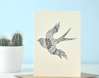Soul-searching Swallow - eco friendly illustration greetings card - perfect for bird lovers, swallow art, yoga card, yogi gift