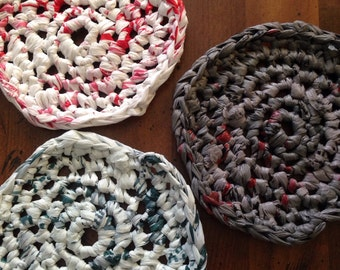 Recycled Plastic Bag Crochet Coasters
