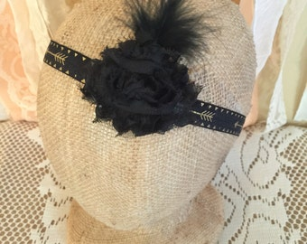Black and Gold Headband Embelished with Flower and Feathers