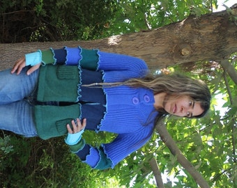 Ladies Blue and Green Upcycled Cardigan