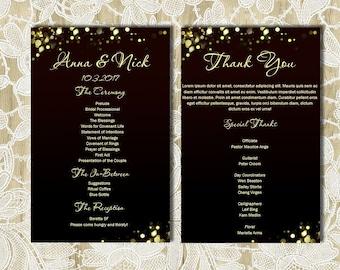 Budget Black and Gold Printable Wedding Program with custom design, Sparkles, DIY Programs, Digital file, Printable Ceremony Order S007