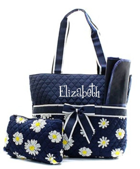 monogram diaper bag quilted daisy navy diaper bag. Black Bedroom Furniture Sets. Home Design Ideas