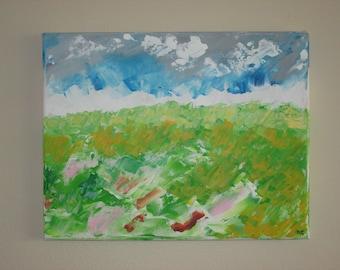 Original Acrylic Painting Autumn Field