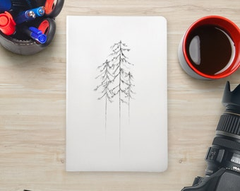 Custom Moleskine Sketchbook Design White Pocket Size Small Ruled Page Notebook, Journal, Tree Artwork