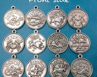 12pcs Mix Lot Tibetan Silver Double Sided Horoscope Zodiac Charms / Pendants