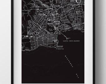 Santa Cruz Map Poster 11x17