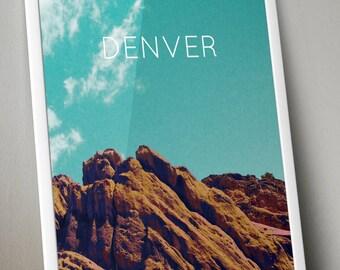 Denver Red Rocks, Colorado Poster 11x17 18x24 24x36