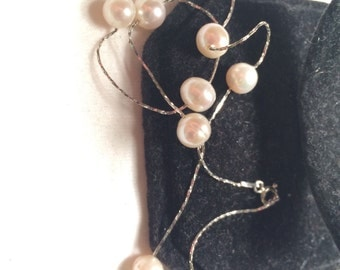 925 sterling sliver with cultural/ real pearl necklace