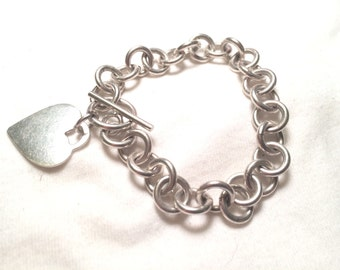 925 sterling sliver chain with heart bracelet