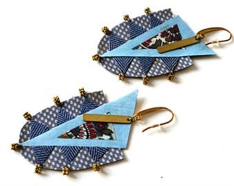 Mosaic Earrings, Fabric Earrings, Mosaic Fabric Earrings, Colorful Fabric Earrings, Fabric jewelry, Mosaic jewels