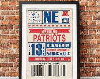 New England Patriots Retro Ticket Print