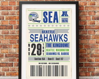 Seattle Seahawks Retro Ticket Print
