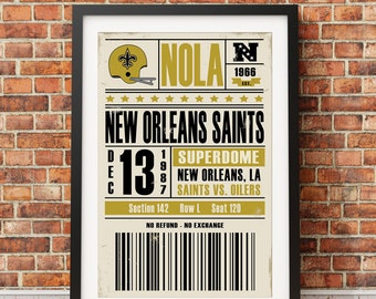 New Orleans Saints Retro Ticket Print