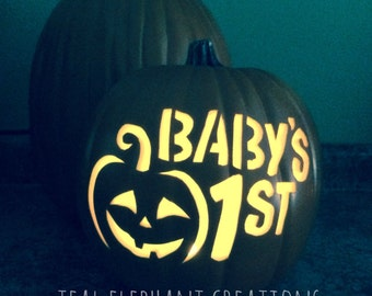 baby's 1st halloween carved pumpkin