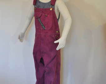 Red Kids Size 12 Bib OVERALL Pants - Wine Red Key Imperial Cotton Denim Overall - Kids Boys Child Sz 12 Years (28 W x 27 L)