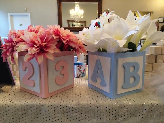 Abc baby block centerpiece boy centerpieces
