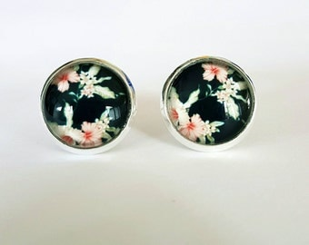 Black floral glass cabochon stud earrings