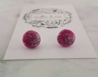 Pink and silver clay stud earrings