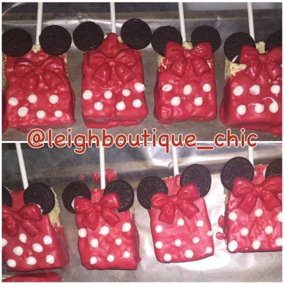 Minnie Mouse Baby Shower Party Favors: Chocolate Covered Rice Krispy Treats- Birthday Party