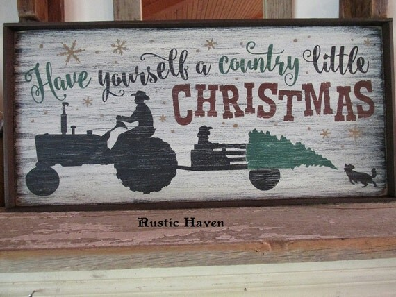 Primitive Wood Sign Christmas Sign Tractor Sign Country