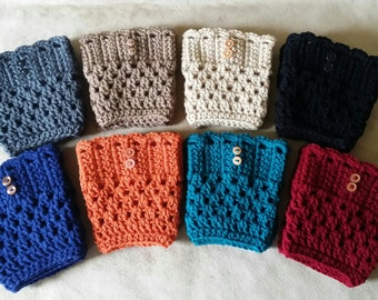 Boot Cuffs  - Boot Toppers - Boot Socks - Leg Warmers - Crochet Women's Boot Cuffs - Handmade Boot Cuffs - 8 Colors to Choose From