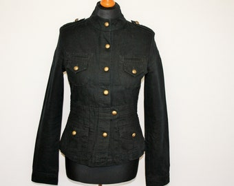 Womens Black Marching Band Jacket  Breasted Military Blazer Black Michael Jackson Jacket Metal Buttons Size Small to Medium