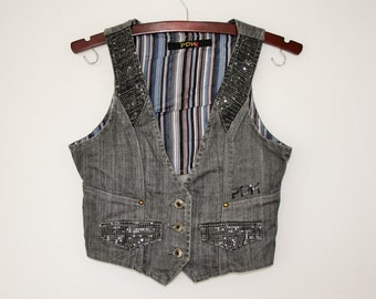 Gray Denim Vest Gray Cotton Waistcoat Women Romantic Country Western Metal Buttons  Steampunk Sleeveless Denim Jacket Size Small